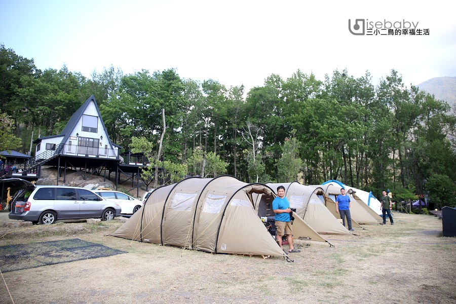 南投伴天聊露營區,森林系營地涼爽宜人~還有滑水道戲水池和沙坑遊戲區好好玩!