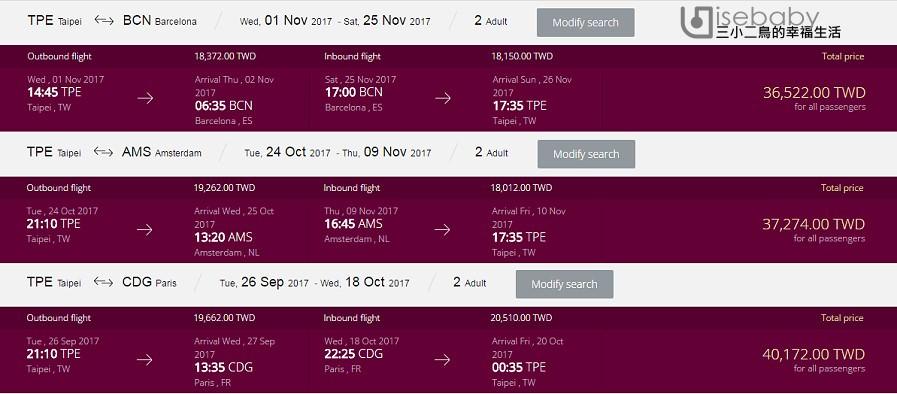 [機票] 2017 January卡達航空旅遊嘉年華.破盤機票強勢回歸x歐洲、美洲、中東、非洲經濟艙來回兩人同行含稅只要NT$16,600起!