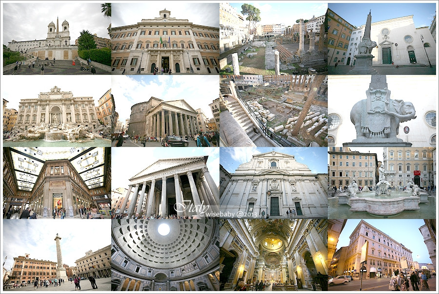 [義大利親子自助] 景點-Roma::羅馬散步地圖(四).西班牙廣場、許願池、科羅納廣場、萬神殿、銀塔廣場、耶蘇教堂、米納瓦神殿上的聖母教堂、納佛那廣場